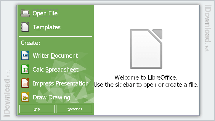 Access all the office components from the start screen. Download extensions and templates too.