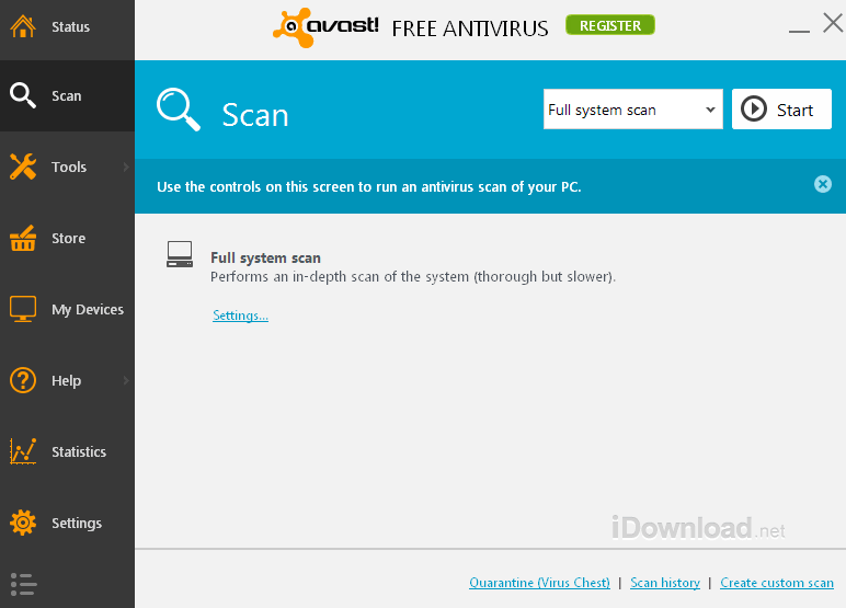 Avast allows for either a full antivirus scan or a custom scan