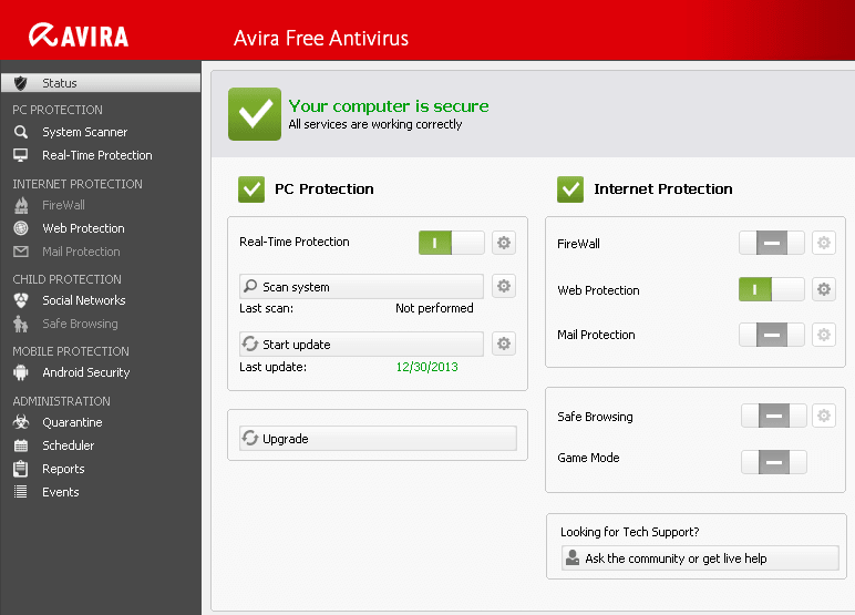 Download Avira Free Antivirus with active protection for Windows
