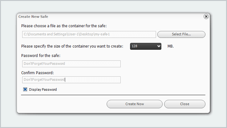 Make the container file, size, and enter a password