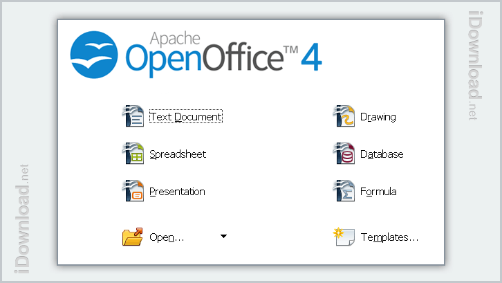 Open your files, access templates, and tools from the OpenOffice main splash menu