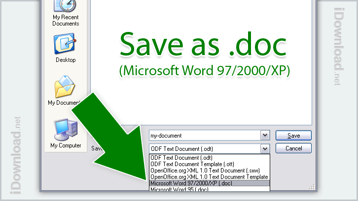 To open or edit with Microsoft Office, save the file with the extension .doc