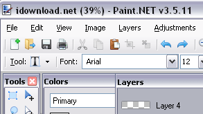 Paint.NET has tools and features to create graphics or edit images