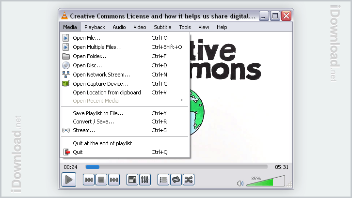 Open video files, DVD's, CD's, capture device, stream, and convert video files