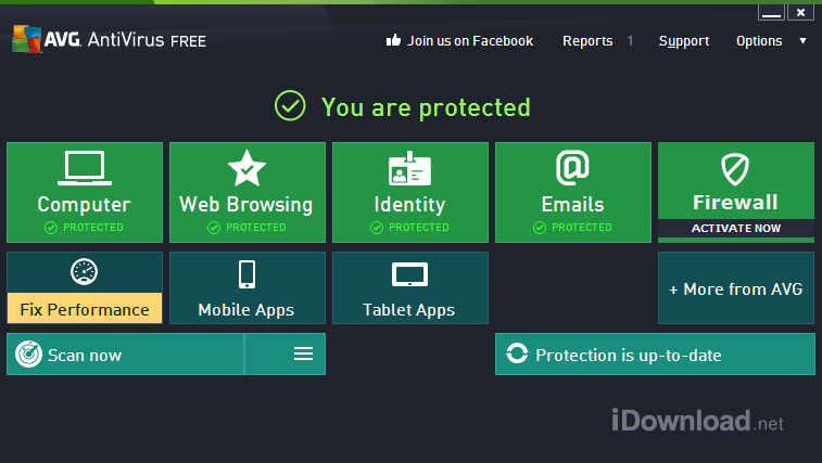 Quickly access virus scanning options, identity protection settings from main screen